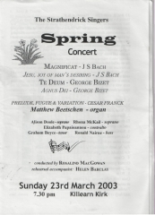 2003 Spring Concert Programme Cover