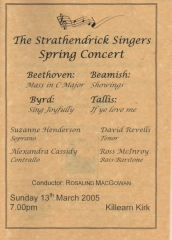 2005 Spring Concert Programme Cover